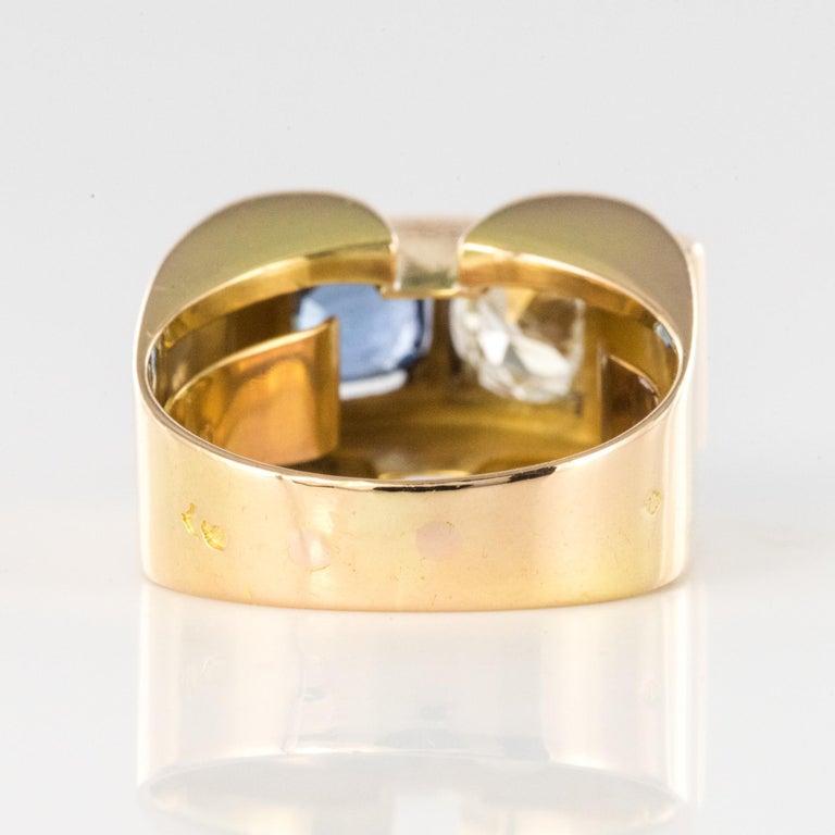 1940s French Sapphire Diamond 18 Karat Yellow Gold Platinum Duo Tank Ring For Sale 8