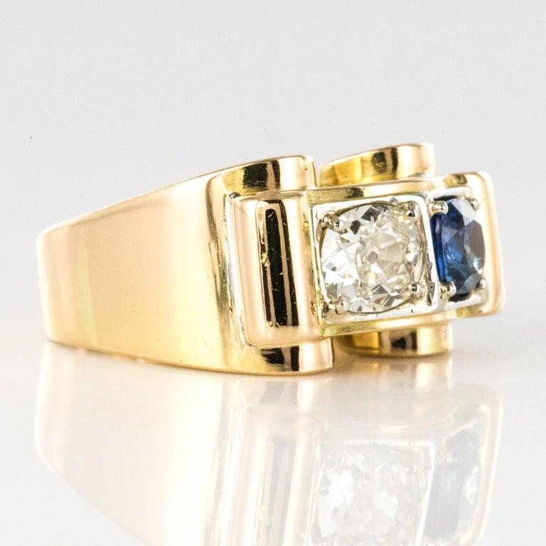 1940s French Sapphire Diamond 18 Karat Yellow Gold Platinum Duo Tank Ring For Sale 9