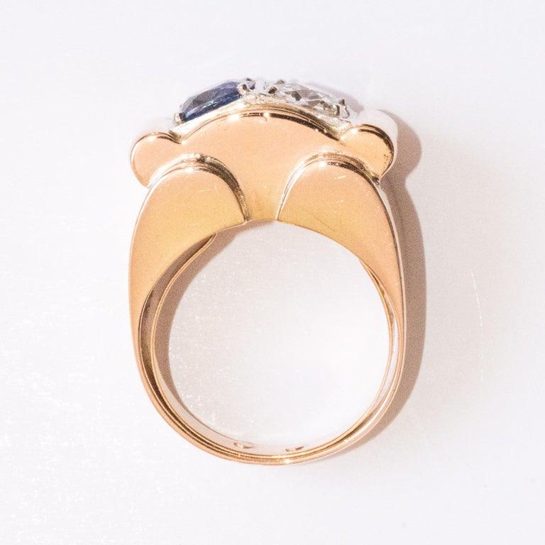 1940s French Sapphire Diamond 18 Karat Yellow Gold Platinum Duo Tank Ring For Sale 10