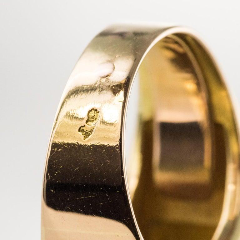 1940s French Sapphire Diamond 18 Karat Yellow Gold Platinum Duo Tank Ring For Sale 11