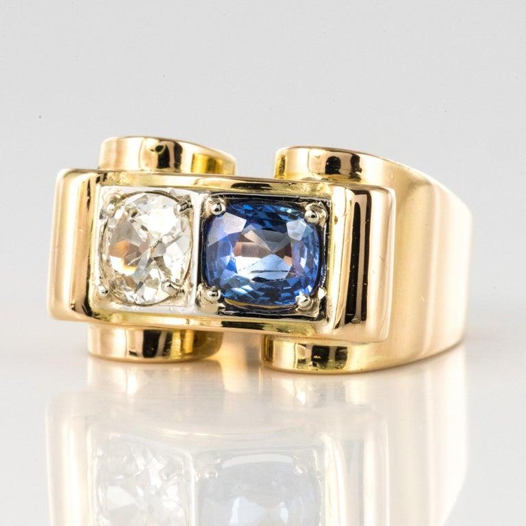 Retro 1940s French Sapphire Diamond 18 Karat Yellow Gold Platinum Duo Tank Ring For Sale