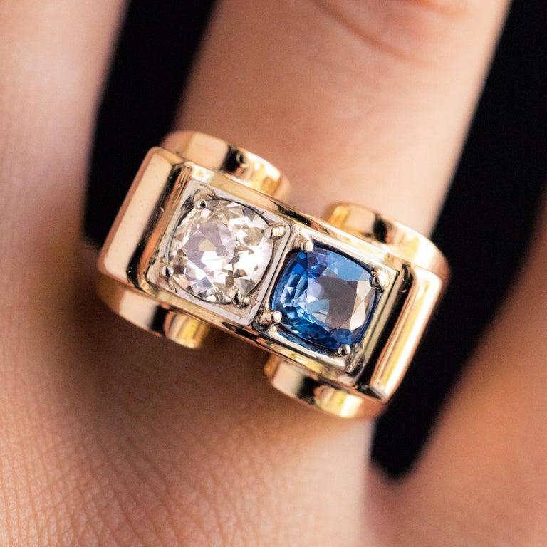 Cushion Cut 1940s French Sapphire Diamond 18 Karat Yellow Gold Platinum Duo Tank Ring For Sale