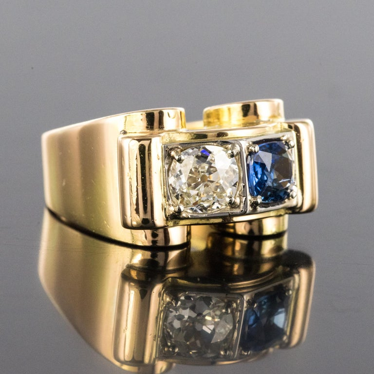 1940s French Sapphire Diamond 18 Karat Yellow Gold Platinum Duo Tank Ring In Excellent Condition For Sale In Poitiers, FR