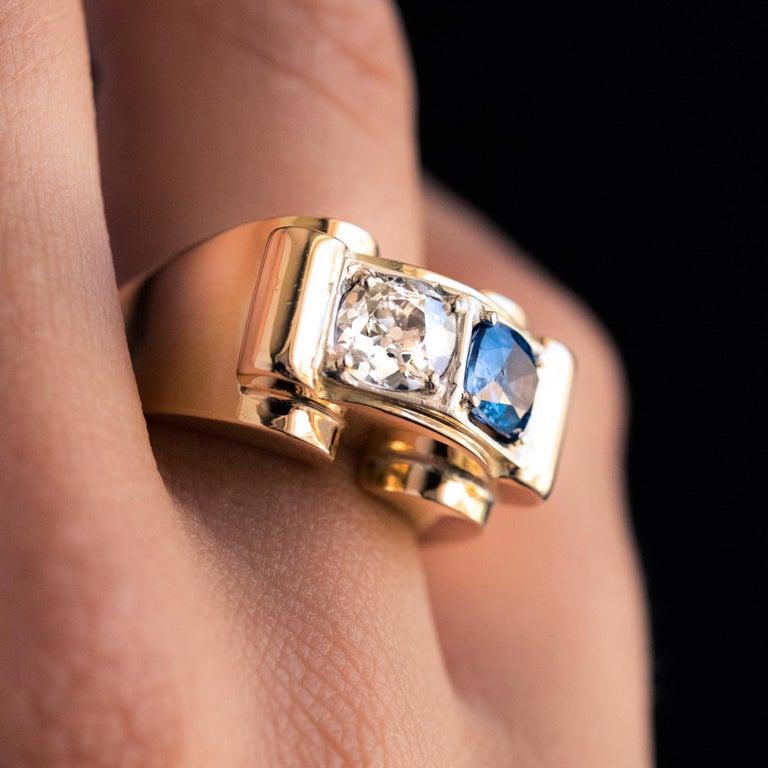Women's 1940s French Sapphire Diamond 18 Karat Yellow Gold Platinum Duo Tank Ring For Sale