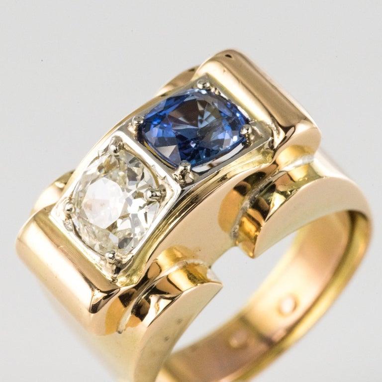 1940s French Sapphire Diamond 18 Karat Yellow Gold Platinum Duo Tank Ring For Sale 1