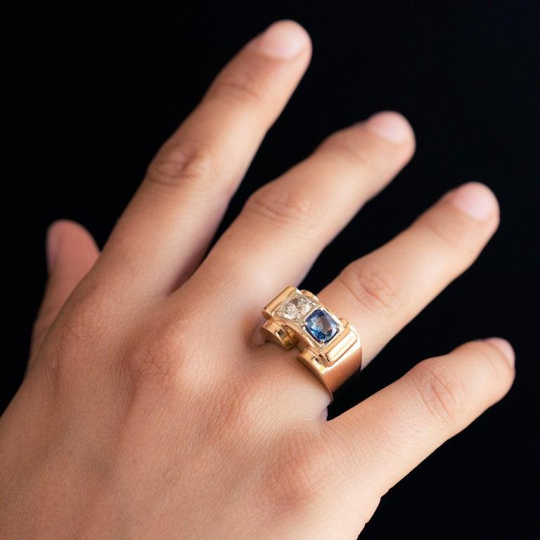 1940s French Sapphire Diamond 18 Karat Yellow Gold Platinum Duo Tank Ring For Sale 2