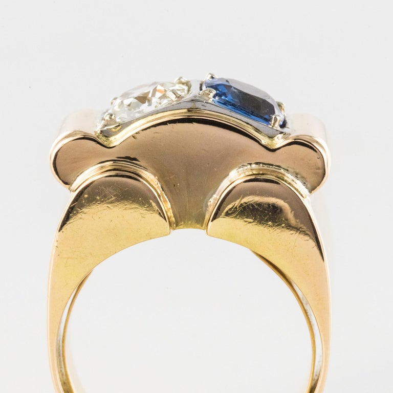 1940s French Sapphire Diamond 18 Karat Yellow Gold Platinum Duo Tank Ring For Sale 3