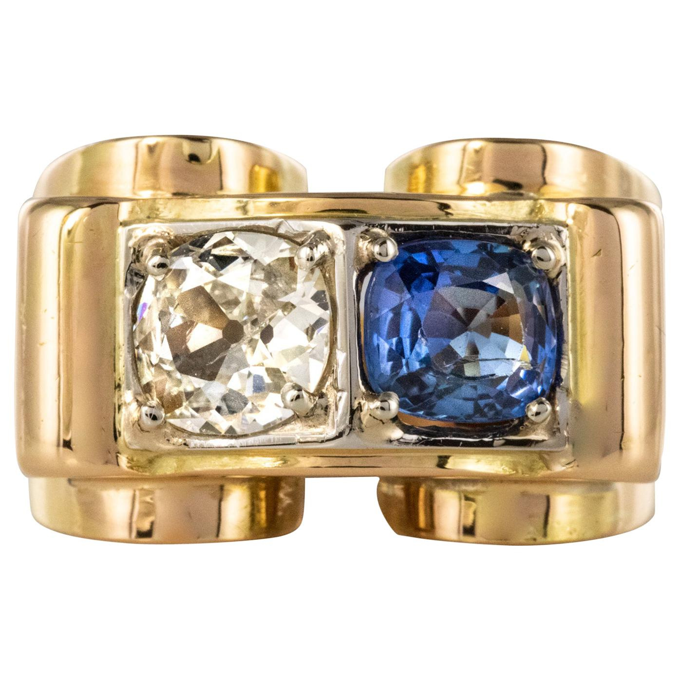 1940s French Sapphire Diamond 18 Karat Yellow Gold Platinum Duo Tank Ring