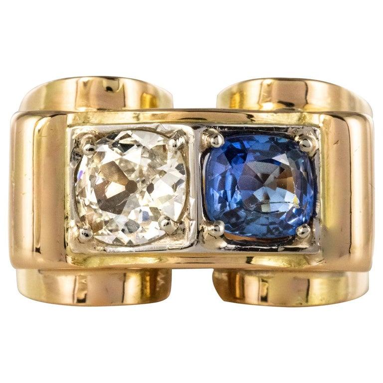 1940s French Sapphire Diamond 18 Karat Yellow Gold Platinum Duo Tank Ring For Sale