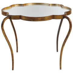 1940s French Scalloped Design Gilded Metal and Mirror Cocktail Table