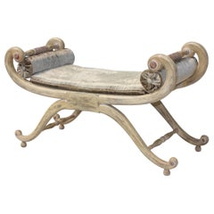 1940s French Scroll Arm Bench