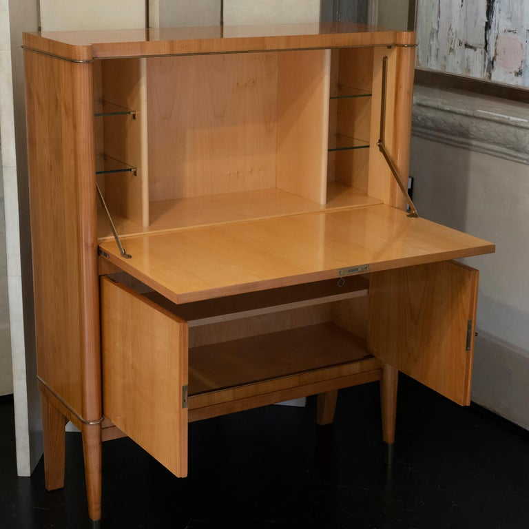 Mid-Century Modern 1940s French Secretaire, Lacquered Birch Wood and Brass Details