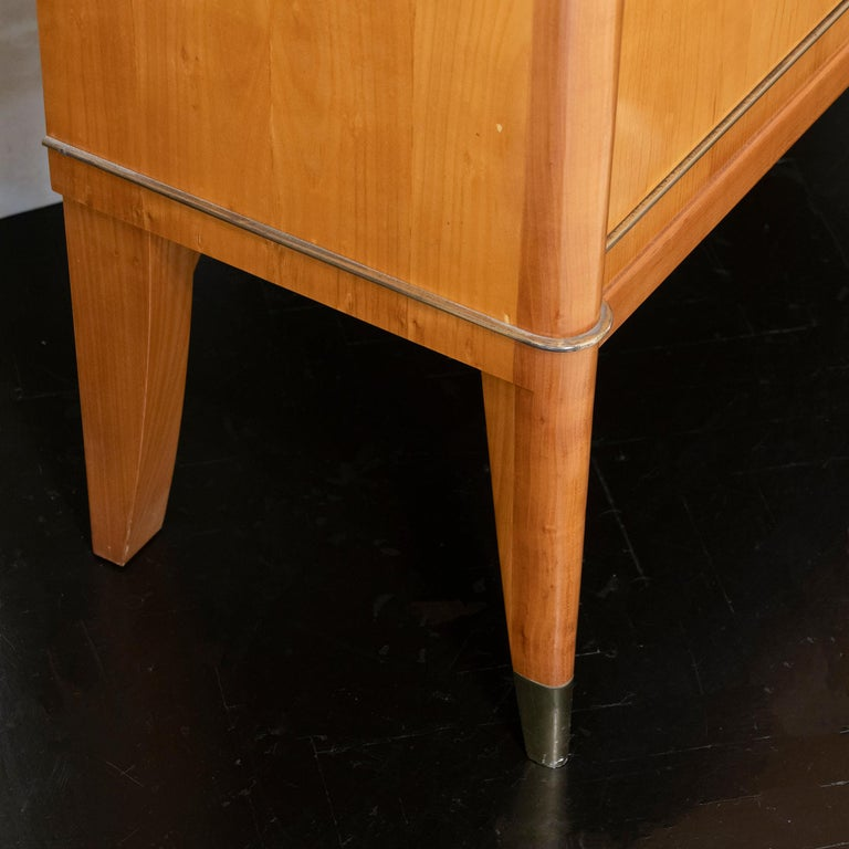 1940s French Secretaire, Lacquered Birch Wood and Brass Details 1