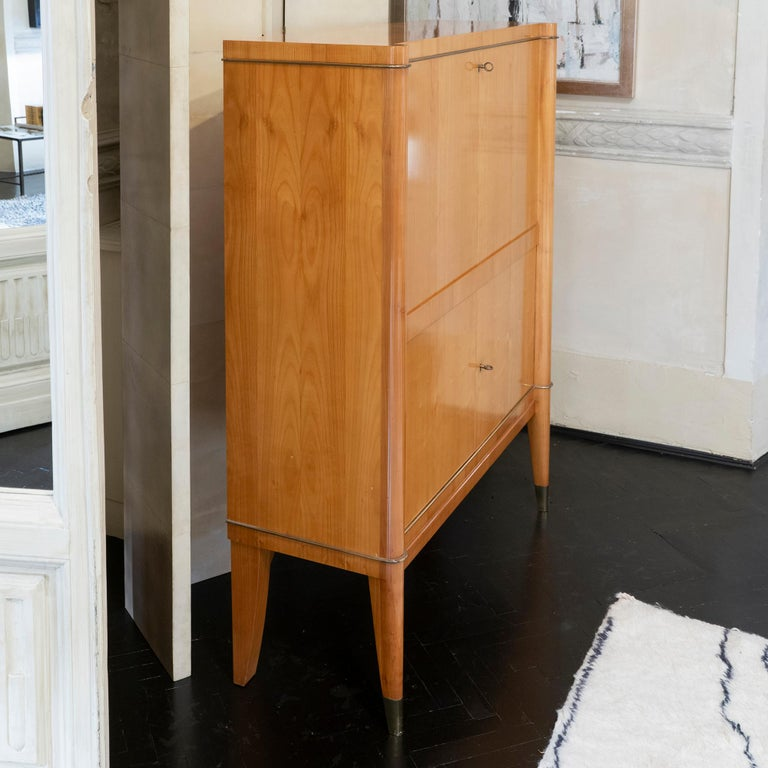1940s French Secretaire, Lacquered Birch Wood and Brass Details 3