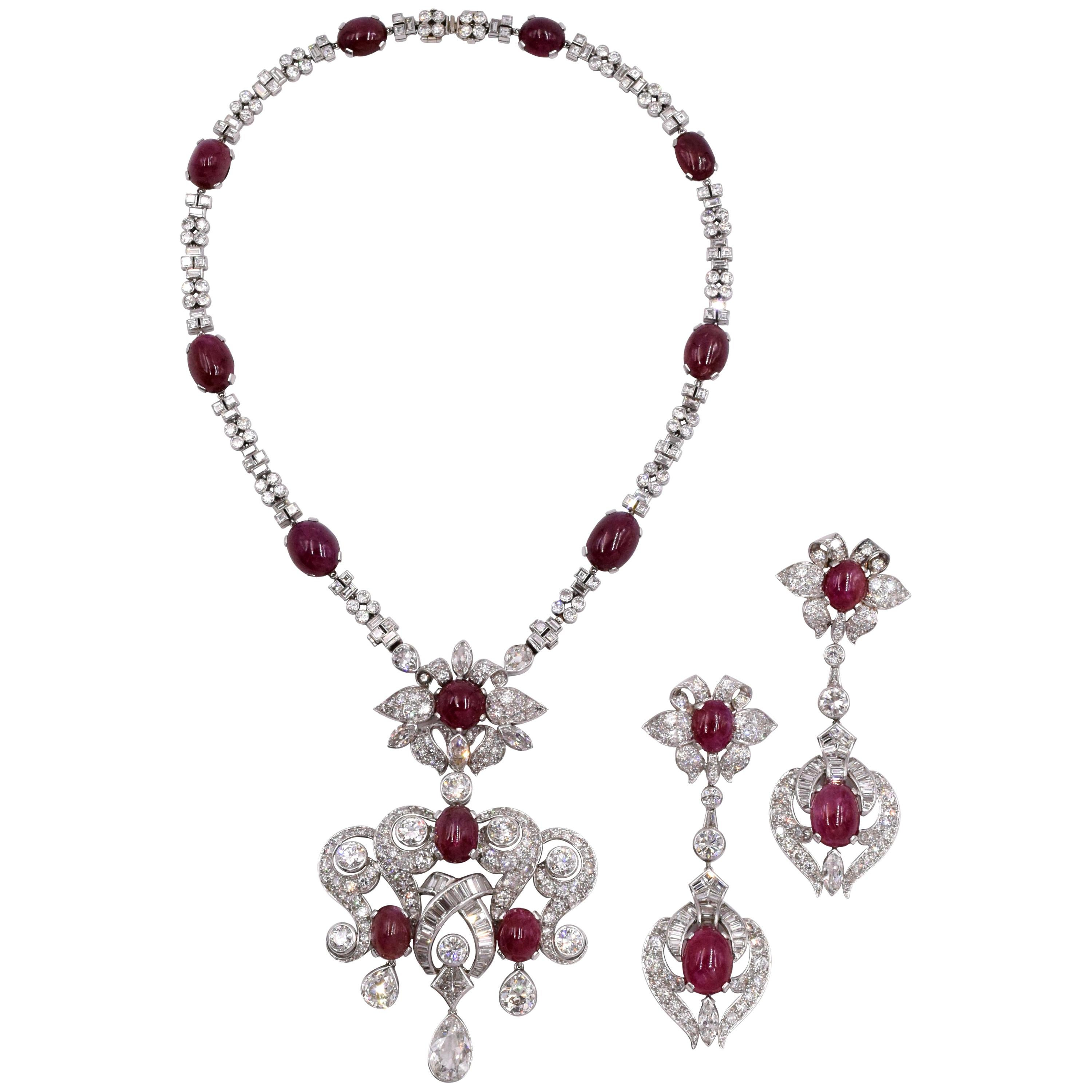 1940s French Set of Diamond and Burma No Heat Ruby Necklace and Earrings