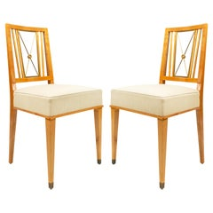 1940s French Set of Eight Dining Chairs, Attributed to Jacques Adnet