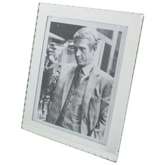 1940s French Silver Mirror Glass Picture Frame