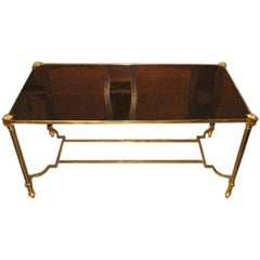 1940s French Textured Bronze Mirror and Brass Coffee Table