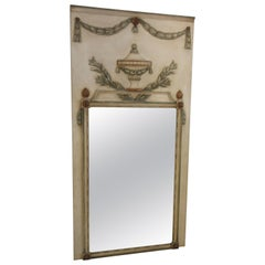 1940s French Trumeau Painted Wood Mirror