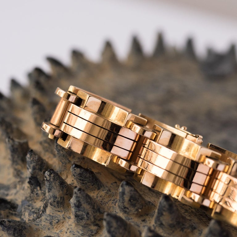 1940s French Two Color Gold Tank Bracelet For Sale 6