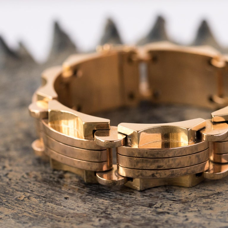Women's 1940s French Two Color Gold Tank Bracelet For Sale