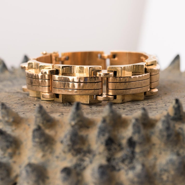 1940s French Two Color Gold Tank Bracelet For Sale 2
