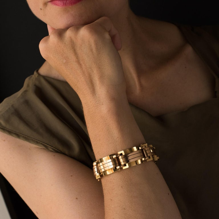 1940s French Two Color Gold Tank Bracelet For Sale 3