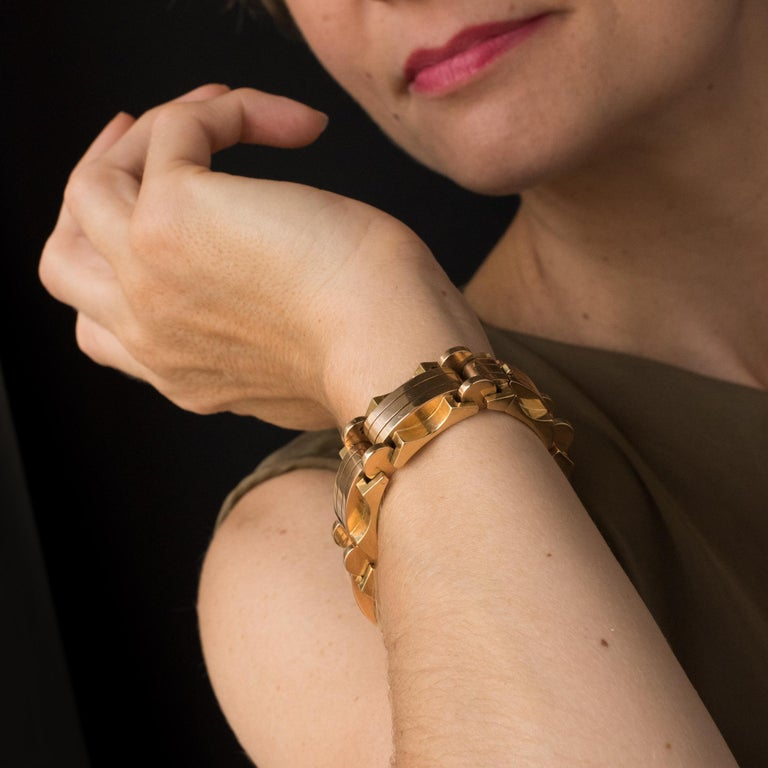 1940s French Two Color Gold Tank Bracelet For Sale 5