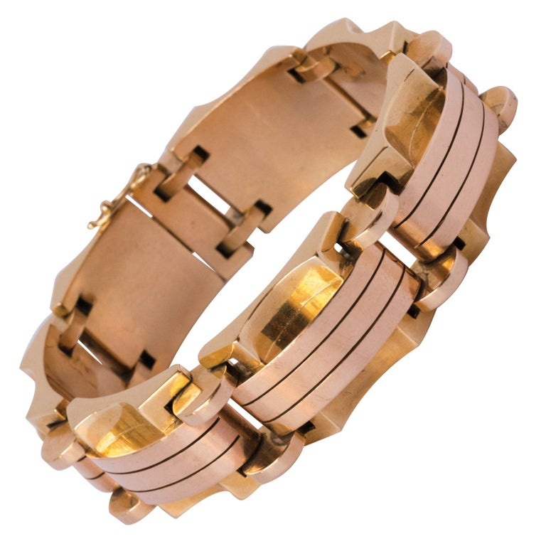 1940s French Two Color Gold Tank Bracelet For Sale