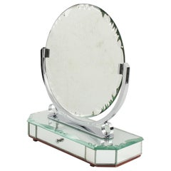1940s French Venetian Style Vanity Table Mirror with Jewelry Case