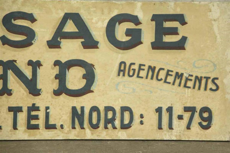 1940s French Vernissage Amand Advertising Sign In Good Condition For Sale In New York, NY