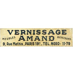1940s French Vernissage Amand Advertising Sign