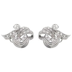 1940s French Vintage Diamond White Gold Earrings