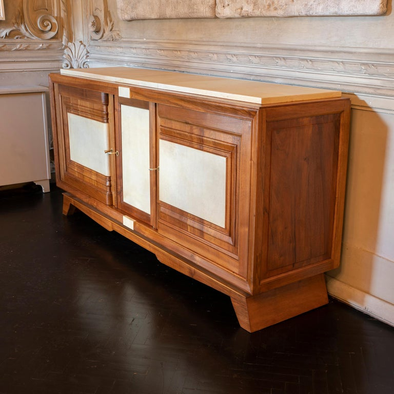 1940s French Walnut Sideboard with Natural Parchment, Brass Details For Sale 5