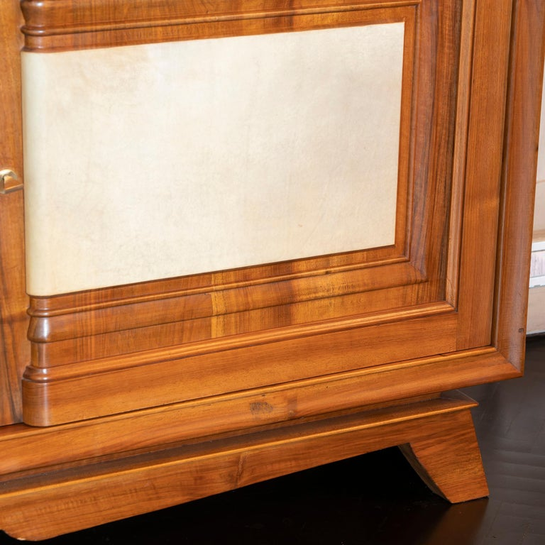 1940s French Walnut Sideboard with Natural Parchment, Brass Details For Sale 1