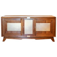 1940s French Walnut Sideboard with Natural Parchment, Brass Details