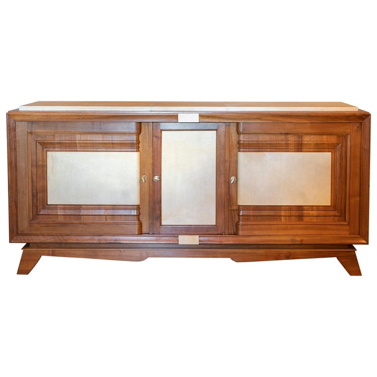 1940s French Walnut Sideboard with Natural Parchment, Brass Details For Sale