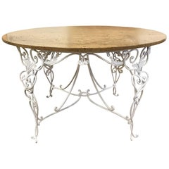 1940s French Wrought Iron Centre Table Attributed to René Prou