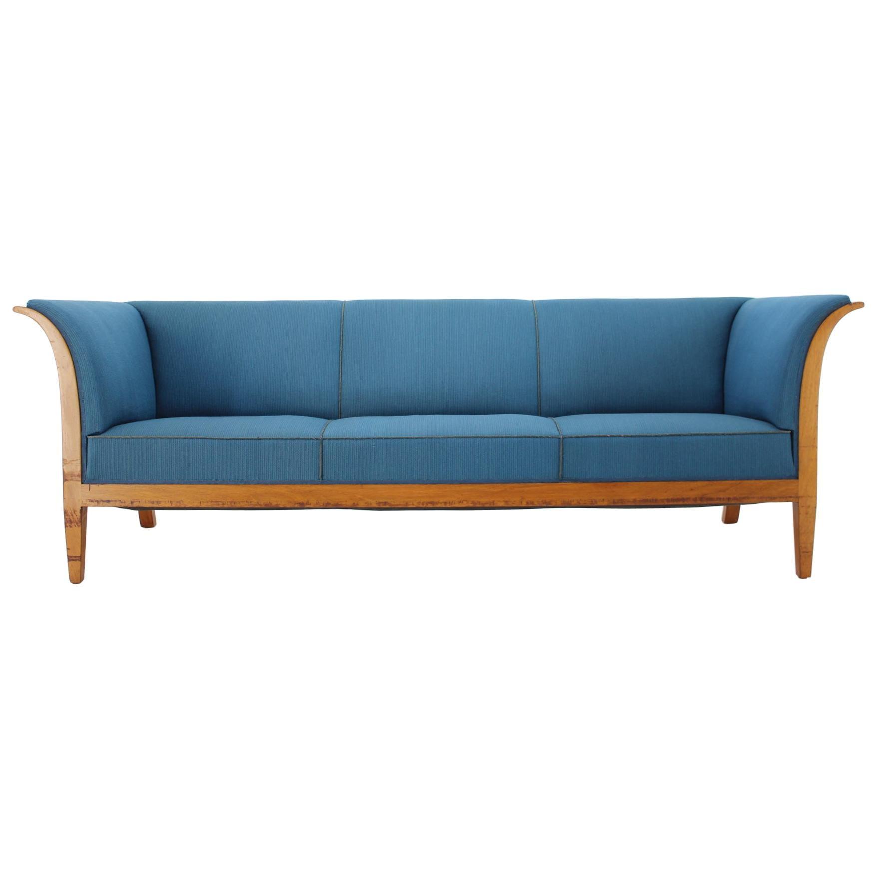 1940s Frits Henningsen Mahogany Three-Seat Sofa, Denmark