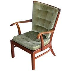 1940s Fritz Hansen Spindle Back Open Armrest Lounge Chair Model 1628