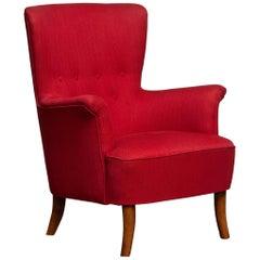 1940s, Fuchsia Easy or Lounge Chair by Carl Malmsten for Oh Sjogren, Sweden
