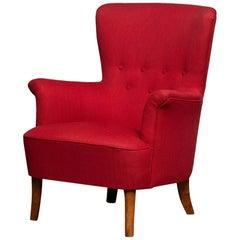 1940s, Fuchsia Red Club Lounge Chair by Carl Malmsten for Oh Sjogren, Sweden 1