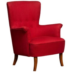 1940s, Fuchsia Red Club Lounge Chair by Carl Malmsten for Oh Sjogren, Sweden 1