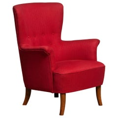 1940s, Fuchsia Red Club Lounge Chair by Carl Malmsten for Oh Sjogren, Sweden