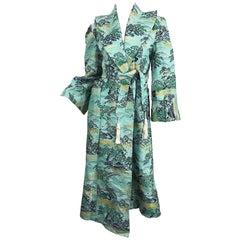 1940s Fujibayashi Blue + Green + Gold Novelty Print Silk Vintage 40s Jacket