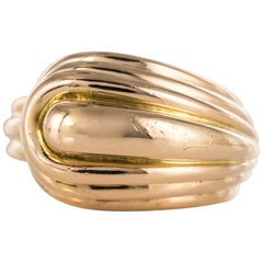 1940s Gadrooned Asymmetric 18 Karat Yellow Gold Tank Ring