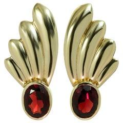 1940s Garnet Yellow Gold Fan Earrings