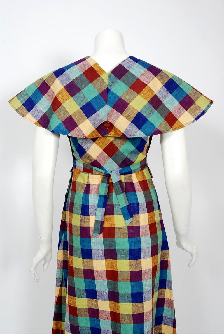 1940's Gay Gibson Colorful Plaid Linen Cotton Swing Dress & Winged-Sleeve Bolero For Sale 5