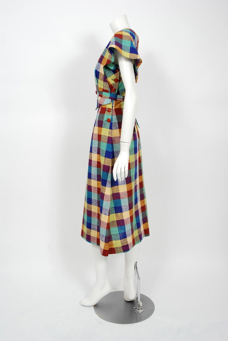 Gray 1940's Gay Gibson Colorful Plaid Linen Cotton Swing Dress & Winged-Sleeve Bolero For Sale