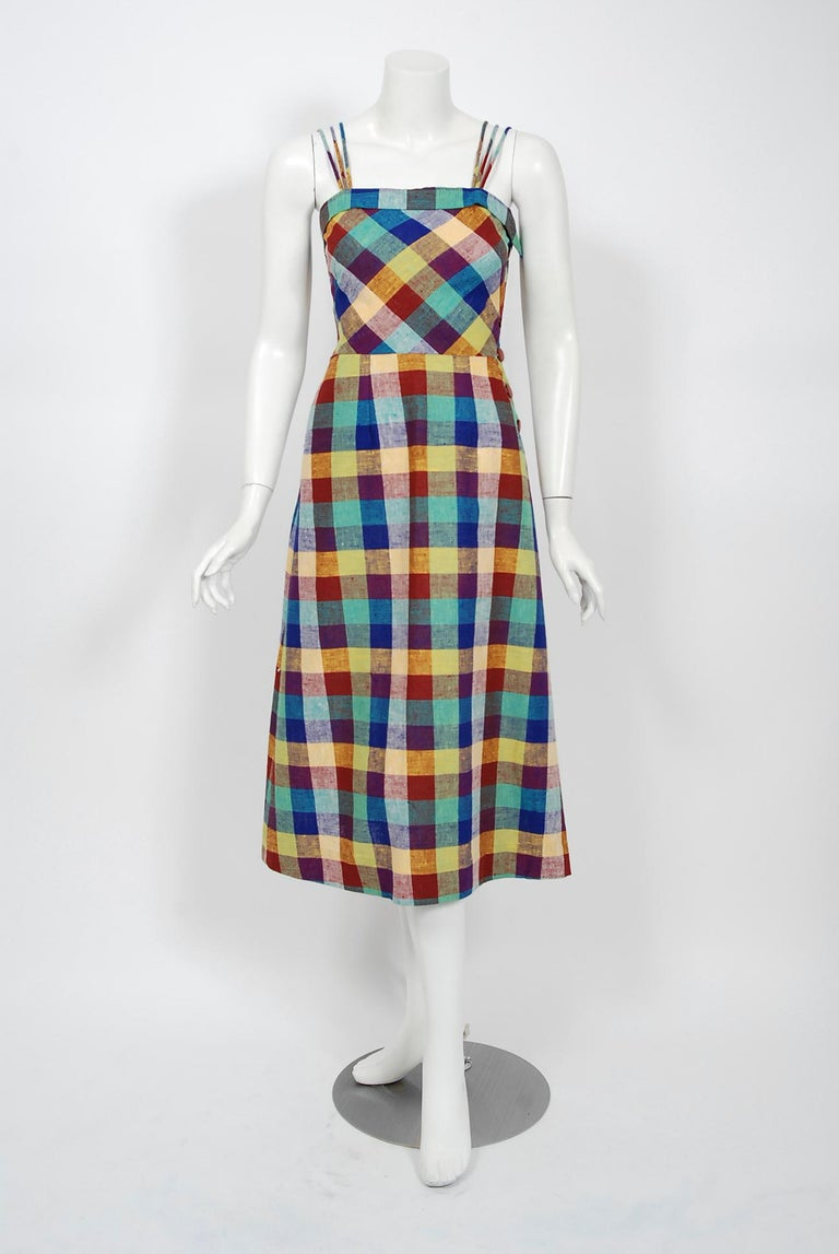 1940's Gay Gibson Colorful Plaid Linen Cotton Swing Dress & Winged-Sleeve Bolero In Good Condition For Sale In Beverly Hills, CA